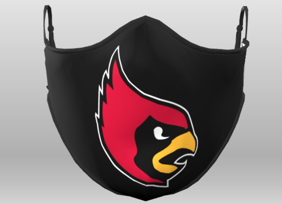 Black mask with Cardinal head in the center