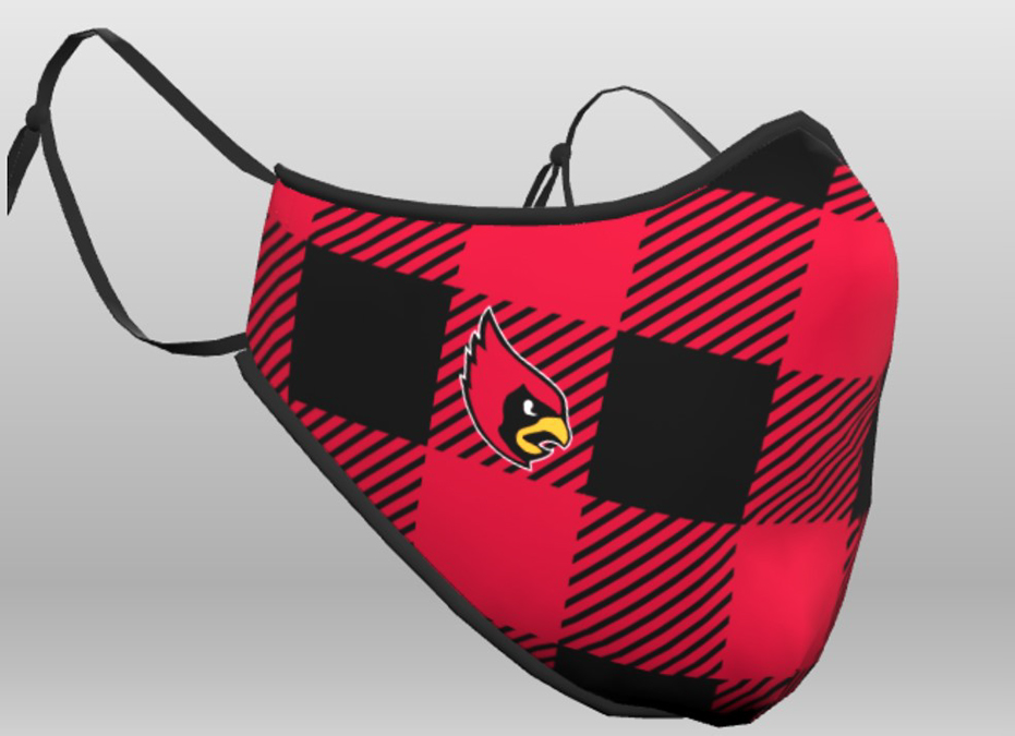 Plaid mask with Cardinal head on the right side