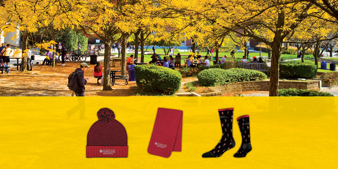 Fall Alumni Association Campaign Graphic with Autumn Campus Beauty Shot