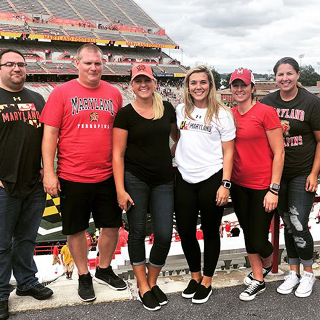 Courtney Dawn and Terps Football Fans at Maryland Stadium