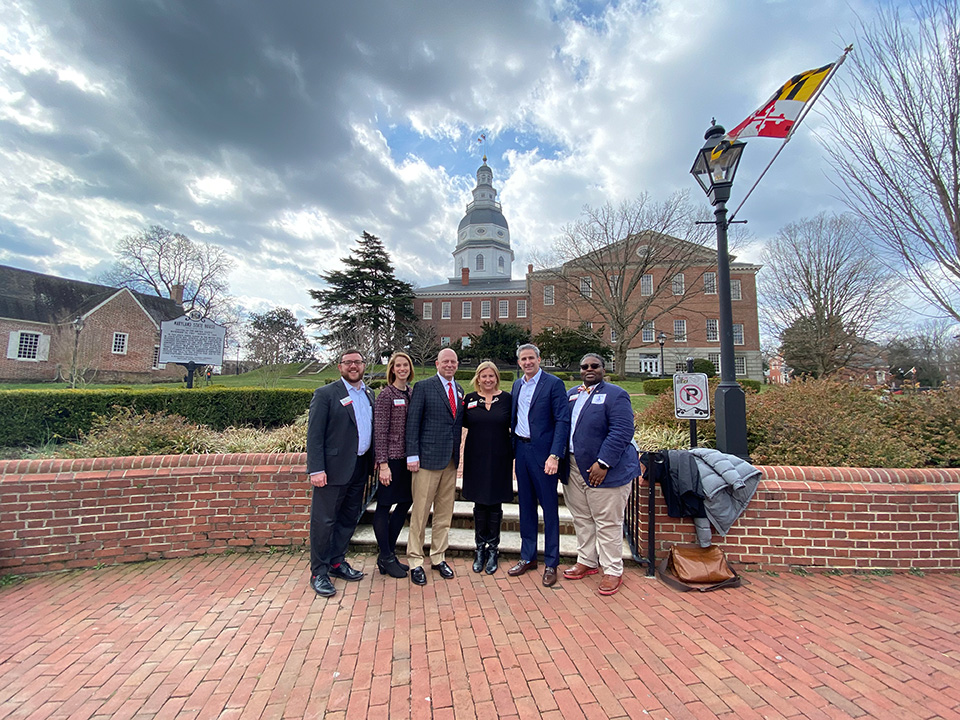 Pictured from left to right: Brian Meenaghan '05, Stacey Lacer '06, Jim Spencer '90, Amy Eichhorst, Dan Rochkind '98 and Matthew Jones '15 in Annapolis, Maryland