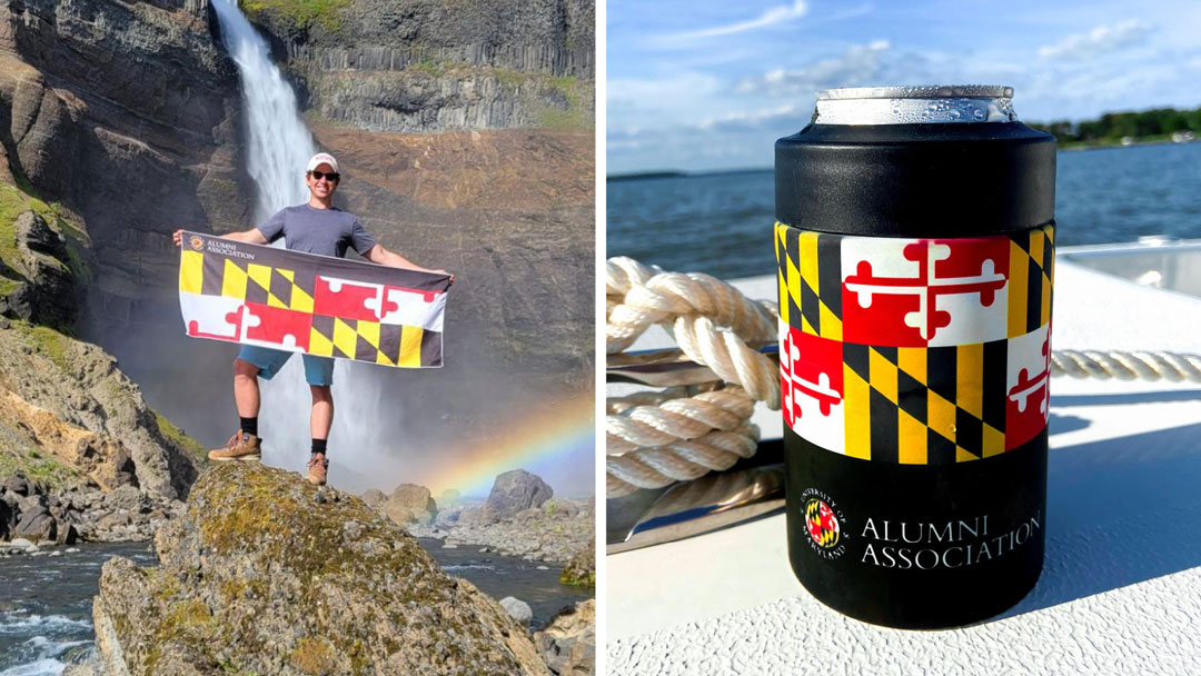 Terp Alum Posing with Alumni Association Branded Towel, with a branded Koozy placed on the deck of a boat