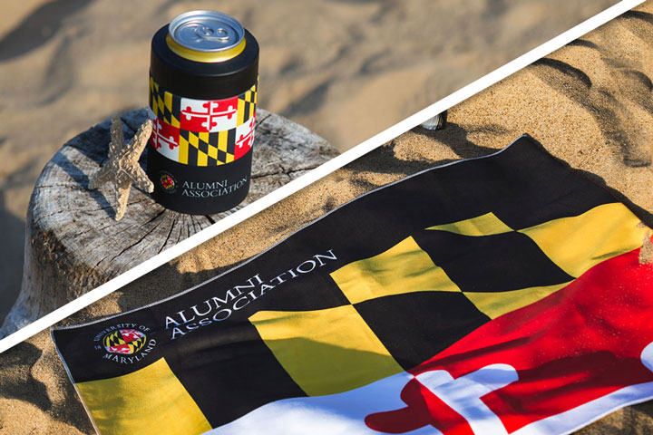 University of Maryland Alumni Association branded travel microfiber towel and insulated can cooler