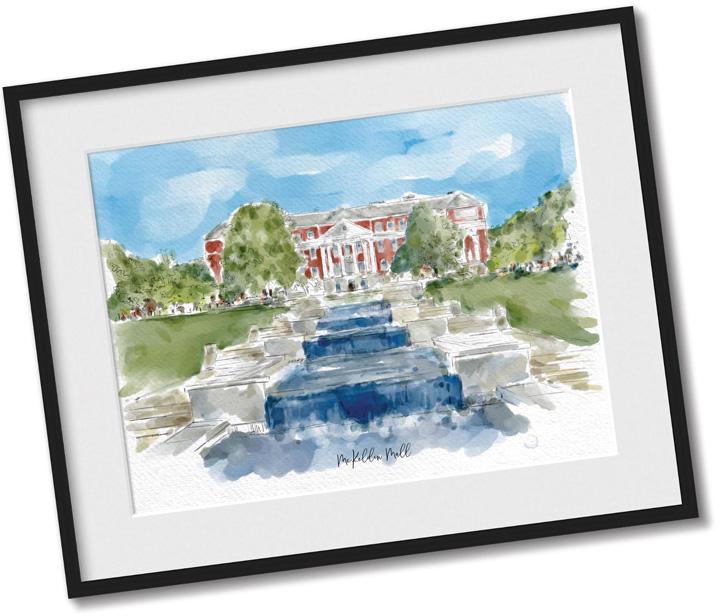 McKeldin Mall Watercolor Print