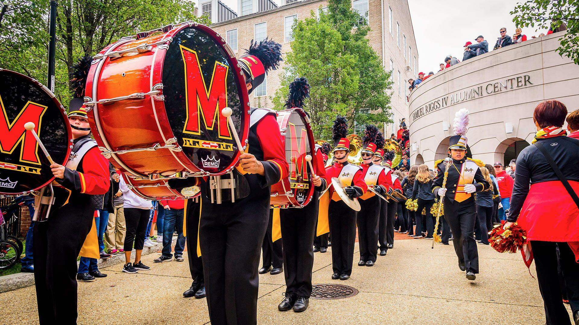 Mighty Sound of Maryland performing outside of the Samuel Riggs IV Alumni Center