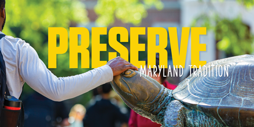 Student Rubbing Testudo's Nose | Preserve Maryland Tradition