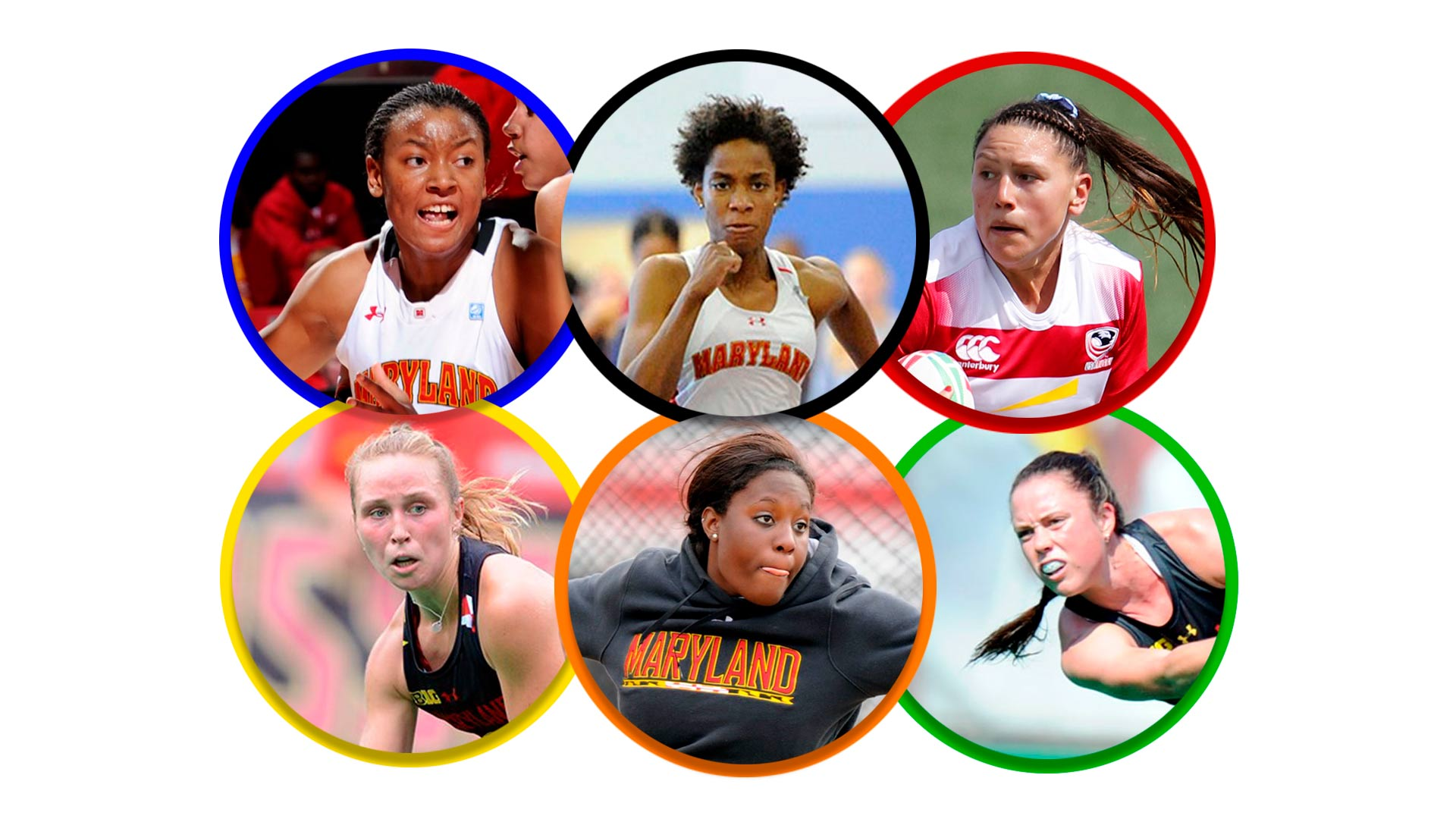Clockwise from top left, Terps Diandra Tchatchouang, Thea LaFond, Abby Gustaitis, Grace Balsdon, Chioma Onyekwere and Nike Lorenz will compete in the Tokyo Olympics
